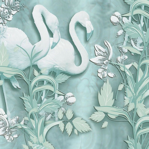 sage green silk with pale off white flamingoes