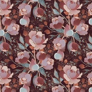 Magical Peony Chintz / Dusty / Small scale