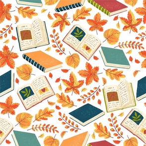 Autumn_Leaves_Books_Pattern