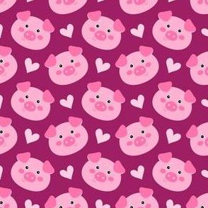 Cute piglets - on burgundy