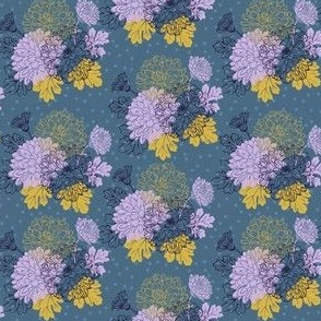 Chrysanthemum - lilac, gold, blue