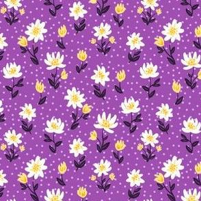 Decorative cute small flowers on purple