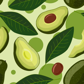 Avocado seamless pattern. Fruit and leaves avocado with green circles background.