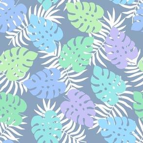 Cute tropical leaves - blue
