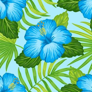 Tropical green leaves and blue hibiscus flowers