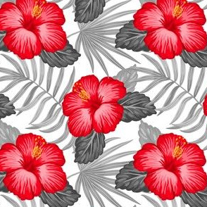 Tropical gray leaves and red hibiscus flowers