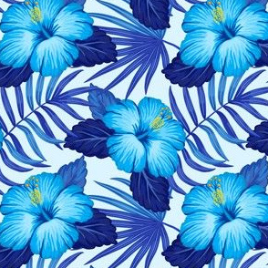 Tropical leaves and hibiscus flowers - blue