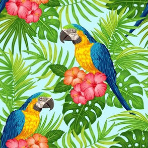 Tropical with parrots - green on blue
