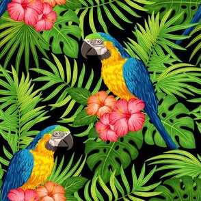 Tropical with parrots - green on black
