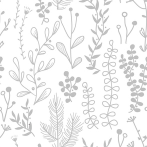 Doodle forest and meadow plants.