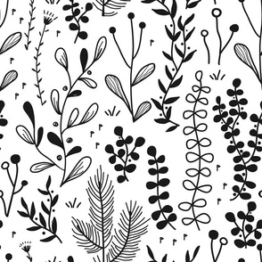 doodle forest and meadow plants