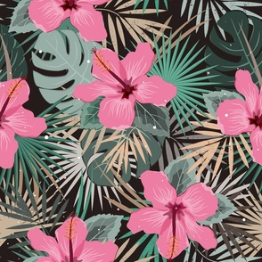 Tropical palm leaves and hibiscus flower