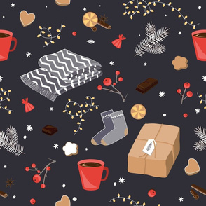 Winter and Christmas items seamless pattern