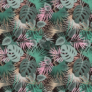 Floral summer pattern background with tropical palm leaves