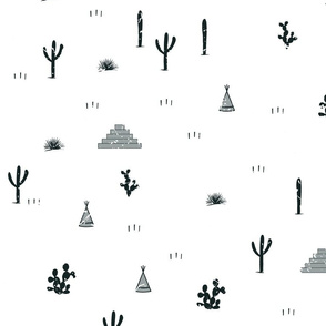 Pyramids, indian tents, saguaro, agaves, and opuntia cactuses