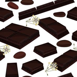 pieces of black chocolate bars