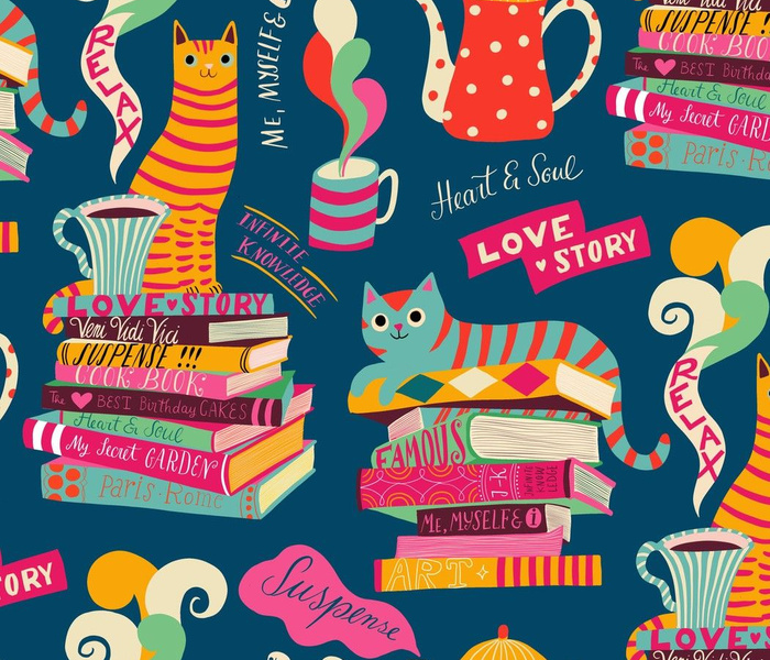 read and relax with tea and cats // medium scale