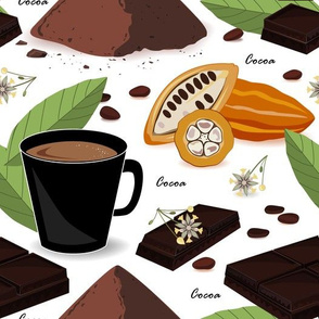 Cocoa beans and leaves
