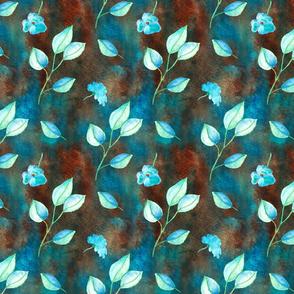 dreamy blue leaf pattern