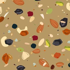 dried fruits, nuts, oatmeal, and seeds