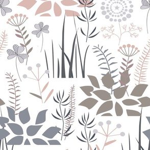 Floral  pattern with doodle plants