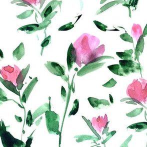 rose garden impression - watercolor rose pattern - flowers with leaves - flourish florals