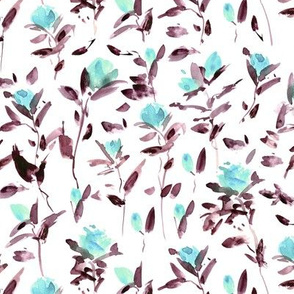 Aqua - earthy rose garden impression - watercolor rose pattern - flowers with leaves - flourish florals