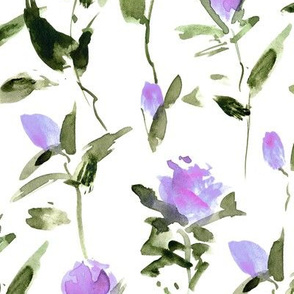 purple rose garden impression - watercolor rose pattern - flowers with leaves - flourish florals 332