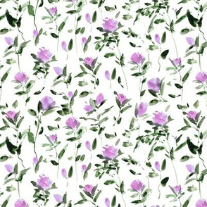 Small scale rose garden impression - watercolor rose pattern - flowers with leaves - flourish florals