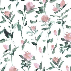 Blush pink rose garden impression - watercolor rose pattern - flowers with leaves - flourish florals