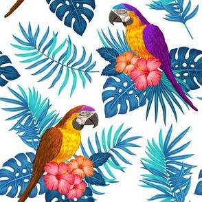 Tropical with parrots - blue purple