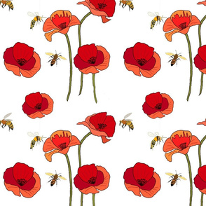 Poppy Pattern with bees