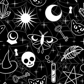 Witchy Pattern Black and White