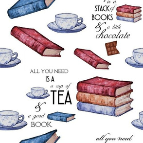 Books and Tea for Cozy Reading  on White
