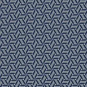 Geometric star flower pattern - blue