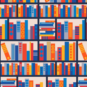 Library Book Stacks in Geometric Mondrian Colours Red Yellow Blue - UnBlink Studio by Jackie Tahara