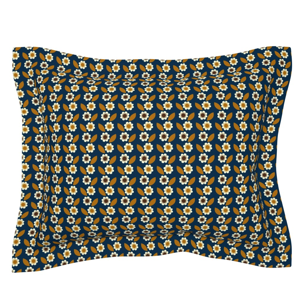 Sebright Pillow Sham featuring little retro flower by mariao