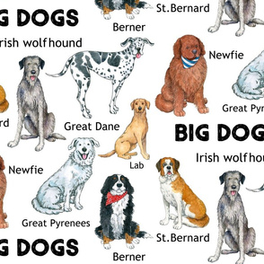 Big Dogs Pattern on white
