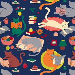 Cosy cats reading - navy