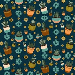 Mid Century Modern Succulents and Cacti in Navy Blue