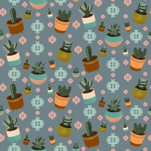 Mid Century Modern Succulents and Cacti in Blue Grey
