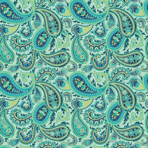Turquoise Paisley (small scale)