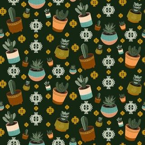Mid Century Modern Succulents and Cacti Pattern in Green