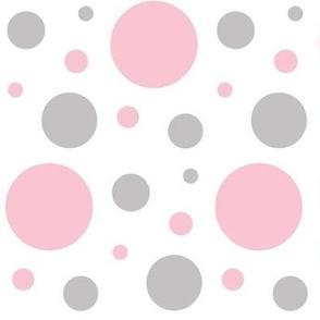 Pink Gray Polka Dots