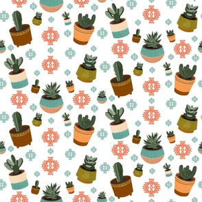 Mid Century Modern Succulents Pattern in White