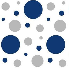 Navy Blue Gray Polka Dots