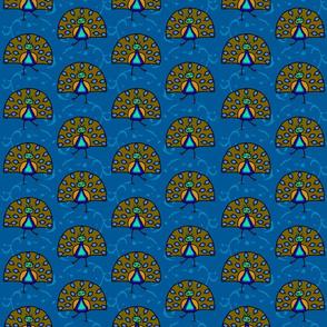 Cute Dancing Peacocks on Lapis Blue