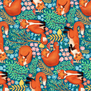 Little Foxes in a Fantasy Forest - Rotated
