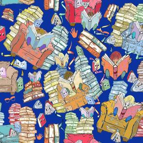 Cozy Reading Kids on Blue