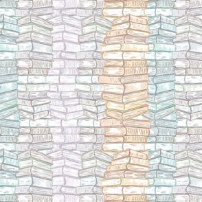 Cozy Reading Book Stacks Pastel Medium